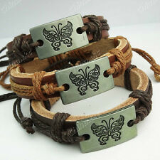 Freeshipping 12pcs Top Leather Butterfly Bracelets Bangle Wholesale Jewelry Lots