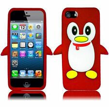 Apple iPhone 5 5S SE Rubber SILICONE Soft Gel Skin Case Phone Cover Penguin Red