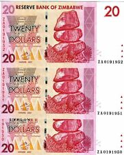 LOT Zimbabwe, 3 x $20, 2007 (2009) UNC > ZA Replacement