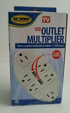 Idealworks USB Outlet Multiplier 6 Sockets Plus 2 USB Ports