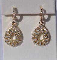 Echt 925 Sterling Silber Ohrringe Zirkonia vergoldet gold Nr 226
