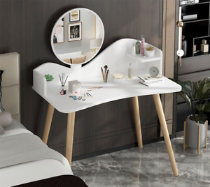 Dressing Table Vanity Makeup Desk Mirror Storage Bedroom White Modern Wooden Leg