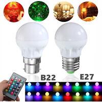 3W RGB B22 E27 LED Light Bulb 16 Colors Changing Lamp +IR Remote Control 85-265V