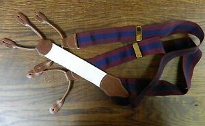 Mens Suspenders Silk Brooks Brothers Burgundy Blue White Brown leather NWOT N#53