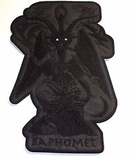 BAPHOMET GOAT  BLACK IN BLACK SHAPED white eyes   EMBROIDERED BACK PATCH
