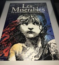 Les Miserables Musical Poster Signed by Cast Boston, MA Dec. 2003 Framed
