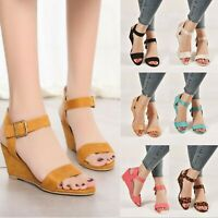Roman Womens Wedge Sandals Low Heels Ankle Strap Buckle Gladaitor Shoes Size 10