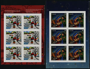 Canada 3254a, 3255a Left Booklet Panes MNH Christmas Nativity, Art, Maud Lewis
