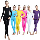 Womens Thermal Fleece Lining Compression Base Layer Sportswear Tops Pants Suit