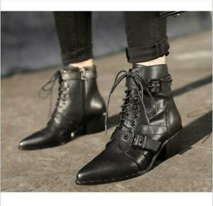 Women Gothic Punk Buckle Ankle Boots Pointed Toe Block Mid Heel Zip Shoes Martin