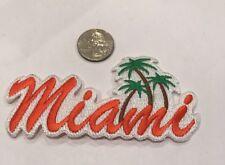 """MIAMI"" VINTAGE IRON ON EMBROIDERED  PATCH. 5""x 2"" Orange/  Nice!!"