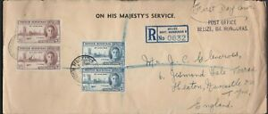 1946 OHMS BRITISH HONDURAS Peace FDC Cover BELIZE Registered to GB