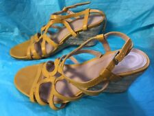 Mootsies Tootsies Size 7.5 M Yellow Wedge Shoes Buckle Strap Shoes