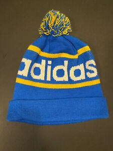 NEW Adidas Originals Mercer Ballie Pom Beanie Winter Hat BLUE/YELLOW Q45349