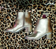 Primark Ladies Metallic Silver Ankle Boots (Size 5) Glam Space Block Heel BNWT