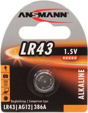 Ansmann LR43 Alkaline Battery 186 186A AG12 D186A G12A GP186 KA443 L1142 RW84