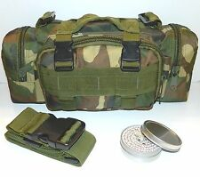 Camo Outdoor Survival Camping Hiking Pouch & 1.75-Hr SlipLid Buddy Burner Micro