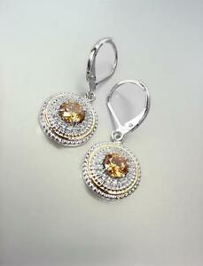 18kt White Gold Plated Brown Topaz CZ Crystal Petite Round Leverback Earrings