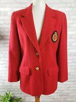 Liz Claiborne Petites size 4 womens vintage red wool blend crest blazer jacket