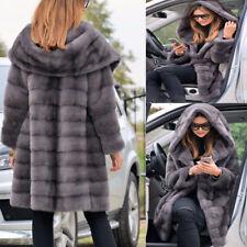 Italia Donna Signora Cappotto Giacche Grigio Inverno Grande parka con cappuccio