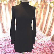 BIBA black wool russian collar button up neckline deep cuff mod mini dress 10 38