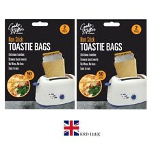4 REUSABLE TOASTER BAGS Non Stick Toastie Toast Sandwich Pockets Bag GHOM2196 UK