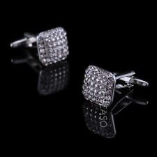 Mencaso Men's Sliver Diamond Square Cufflinks- Wedding Party Business Xmas-OZ