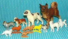 12 Vtg Plastic Dog Figure Lot Hong Kong St. Bernard Poodle Collie 4 5/8� to 1�