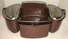~ Vintage 5 Piece Porcelain Enamel Camping Cookware Set Brown Enamelware Pots