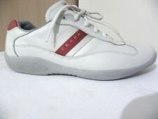 PRADA Mens Athletic Sneakers Leather White trainers size 9 fit uk 10