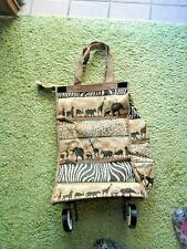 ff08ad868f026c Benjamin Jordan Cloth Travel Case Wheels Zipper Top African Animal Design  NEW