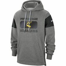 Pittsburgh Steelers Football Nike HISTORIC Logo Hoodie Men Large L Gray