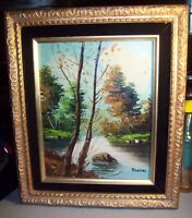 Vintage Framed Signed Mancini Landscape Oil on board Painting