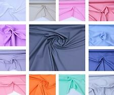 """Cotton poplin fabric, sold by meter, multiple colours, """"44"""", dress fabric, plain"""