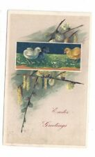Antique 1909 Finkenrath Easter Embossed Post Card Chicks Pussywillows