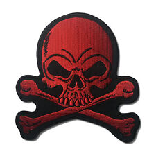 "Embroidered 4"" Skull Cross Bones Red Sew or Iron on Patch Biker Patch"