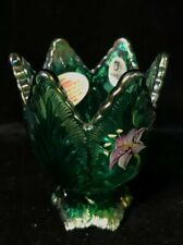 Fenton Green Glass Floral Votive Candle Holder Hand-Painted Signed