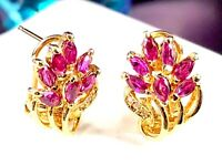 14K SOLID YELLOW GOLD .98 CTW NATURAL MARQUISE RUBY DIAMOND FLORAL STUD EARRINGS