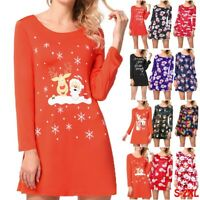Women Christmas T-shirt Top Santa Xmas Party Long Sleeve Skater Swing Mini Dress