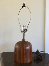 Vintage Mid Century Danish Modern Solid Teak Small Boudoir Table Lamp