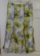 Per Una Marks and Spencer Yellow White Panel Flare A Line Skirt UK Sz 12 Summer