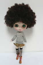 """Takara 12"""" Neo Blythe from Factory Nude doll Brown short curly hair SD59 + stand"""