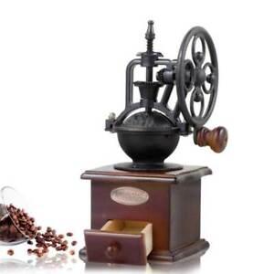 Manual Coffee Grinder Vintage Retro Wood Hand Wheel Mill Bean Nut Grinding