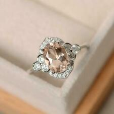 1.65ct Oval Cut Natural peach Morganite Enhanced Wedding Ring 18K White Gold Fn