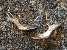 NEW - JIMMY CHOO SHOES SILVER SANDALS - 34 1/2