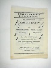 Kiss Me Kate Program 1952 Kenley Players Lakewood Juliana Larson Lee Lindsey