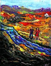 Original OIL Painting Arthur Robins NYC Art DREAM LANDSCAPE rocks couple hiking