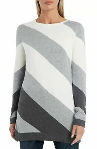 Vince Camuto Women's Sweater Gray Size Small S Colorblock Pullover $79 #198