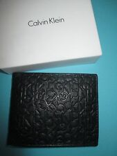 NEW* Calvin Klein WALLET Billfold LEATHER ID BLACK GIFT BOX EMBOSSED CK