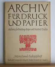 Archives for Printing 1957 Journal in German & English Many Articles on Printing